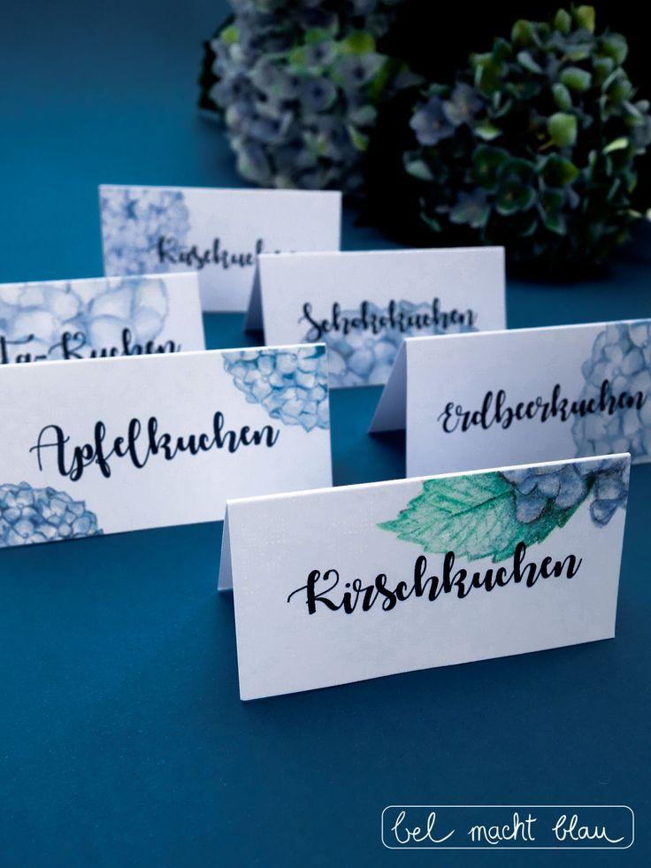 bel macht blau: 6 Hortensien-Tischkarten zum Ausdrucken (Freebie)