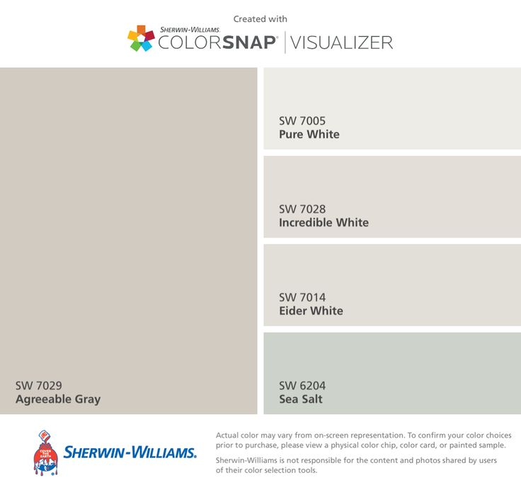 I found these colors with ColorSnap® Visualizer for iPhone by Sherwin-Williams: Agreeable Gray (SW 7029), Pure White (SW 7005), Incredible White (SW 7028), Eider White (SW 7014), Sea Salt (SW 6204).