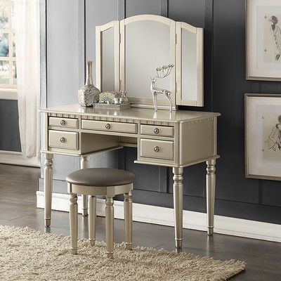 Features:  -Stool included: Yes.  -All drawers are functional.  Product Type: -Vanity set.  Finish: -Silver.  Number of Items Included: -3.  Mirror: -Yes.  Drawers Included: -Yes.  Mirror Type: -Stand
