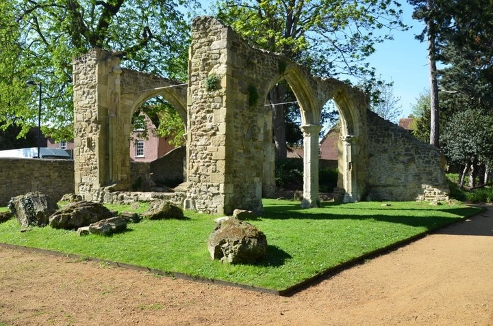 The ruins inside the Abbey Meadow Gardens - Abingdon, UK