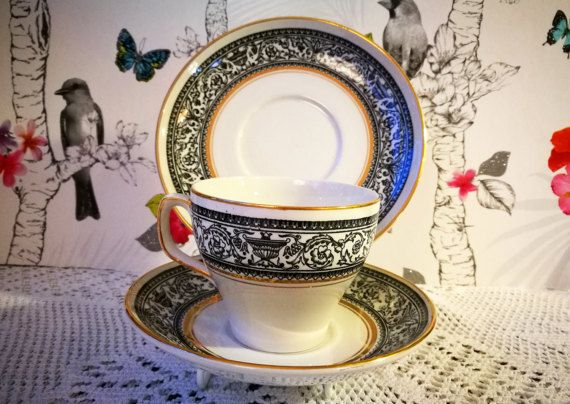 Antique china tea cup trio, English Wood and Sons china Saracen pattern. English china tea cup, saucer and side plate, black white gold