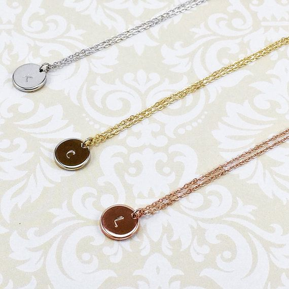 Charming Hand Stamped Gold Disc Necklace Rose Gold by LunaOscula