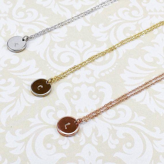 Mano di charme timbrato disco d'oro oro rosa collana di LunaOscula