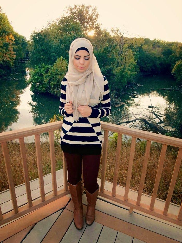 Hijabi fashion beige scarf | black and white striped shirt | brown knee high boots