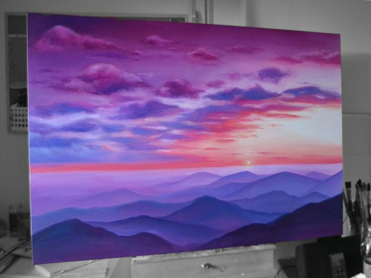 Violet Sunset - Oil Painting by Emily Luella