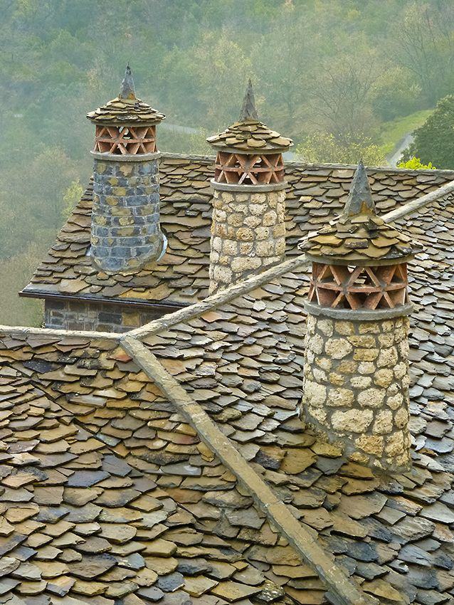 Modern Chimneys following traditional Pyrenean styles, Huesca, Spain *