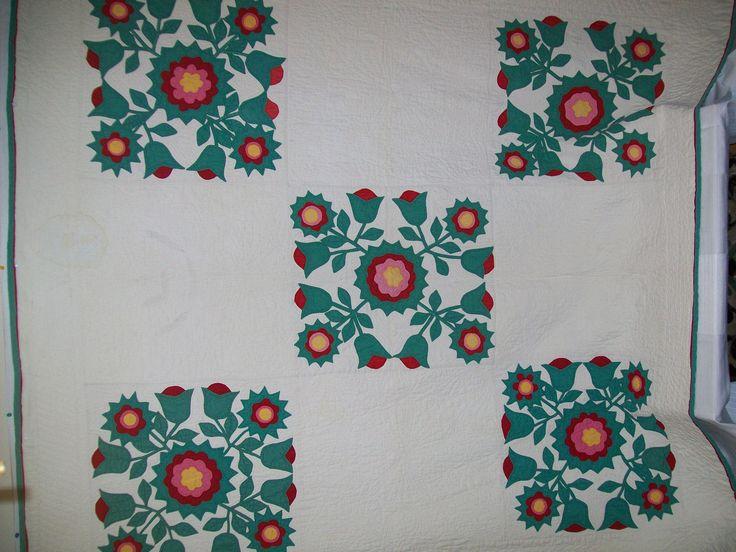 большой Ранняя античная аппликация лоскутное одеяло, Роза шарона?, 73 x 75, туго для квилтинга | eBay