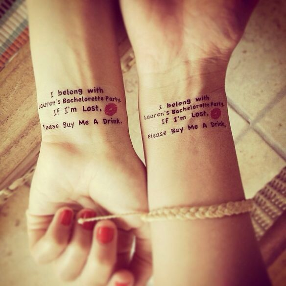Hen party inspiration from Lauren Conrad's bachelorette party. Wrist transfers like these. We love a fresh and unique little touch :)   Thehenplanner.com #thehenplanner #henpartyideas #thoughtful #hen #party #ideas #celebrity #lauren #conrad