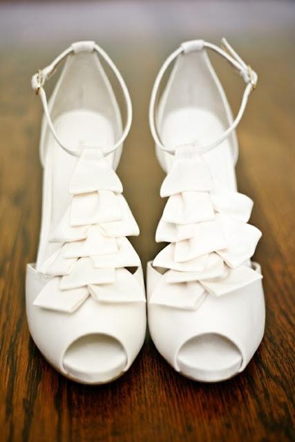 white ruffled wedding shoes