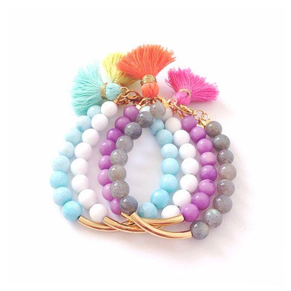 want a white tassel bracelet! Golden Bar Tassel Bracelet by LovesAffect on Etsy, $21.00
