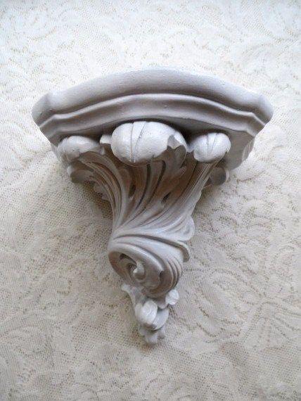 Classic Creamy White Shabby Wall Shelf- Corbel- Highly Detailed- Romantic Cottage Chic- Shabby Decor- Mounted Wall Shelf- Decorative