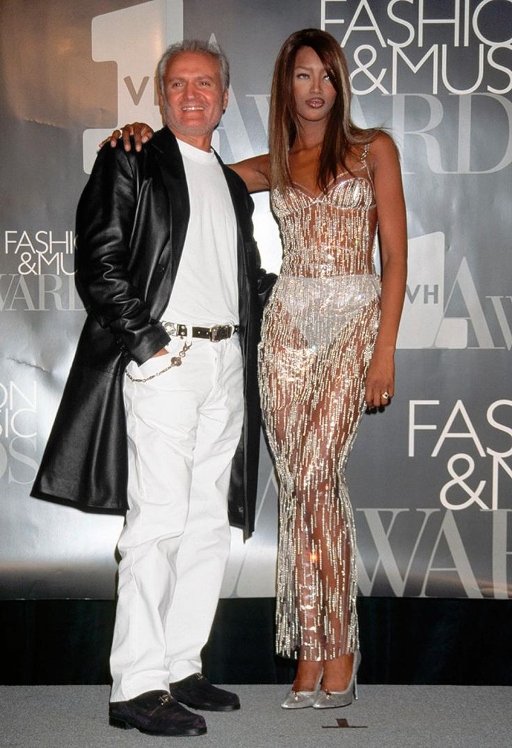Gianni Versace and supermodel Naomi Campbell in 1995.