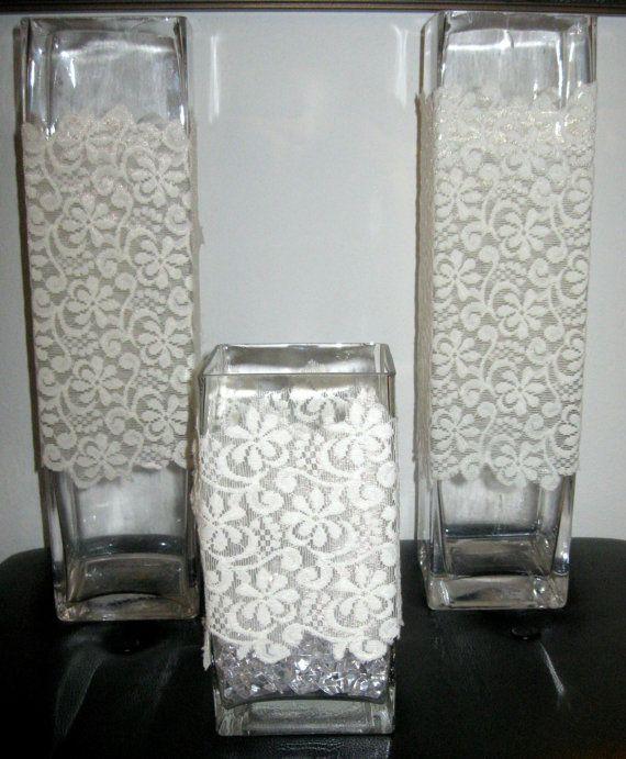 Lace Vase Sleeve Wrap DIY Wedding Centerpiece  by shopthetopshelf, $15.00