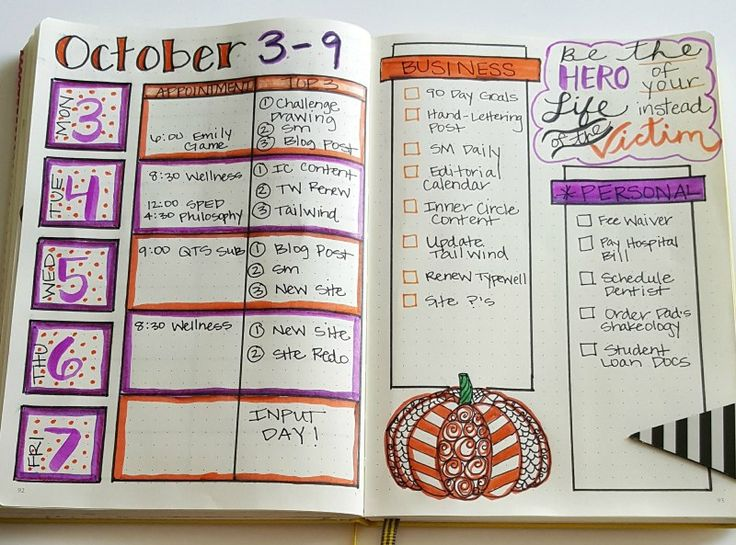 Weekly layout in my bullet journal for October.