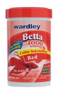 Betta Food Red 1.2oz 3pks, Wardley -- Wardley Products - Betta Food Red. Wardley Color Intensifier for Red Bettas. Balanced and nutritious, mini floating pellets, formulated with Carotene, spirulina, marigold, and shrimp meal, for intense Betta color! Formulated for Bettas and other small tropical fish, this diet contains no artificial colors or dyes that can harm fish or cloud water.