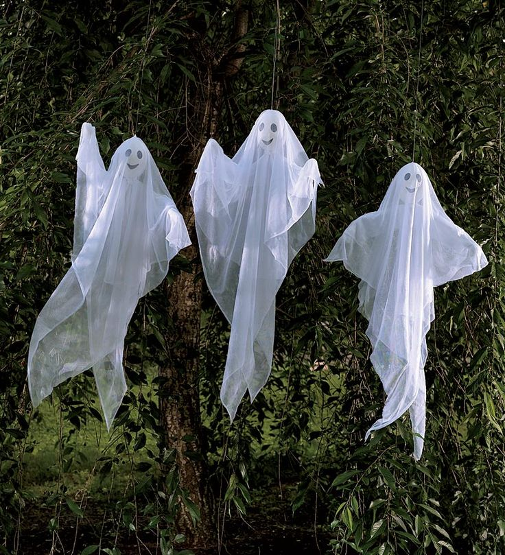 set of 3 lighted hanging ghosts outdoor halloween decorationsholiday
