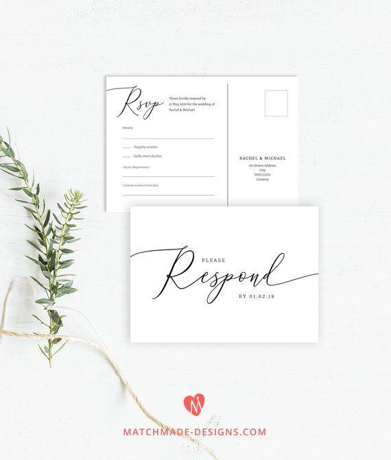 wedding rsvp postcard templates free