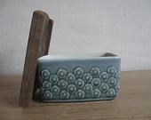 Quistgaard - AZUR BLUE - butter dish - wooden lid - Wengé - Kronjyden - midcentury