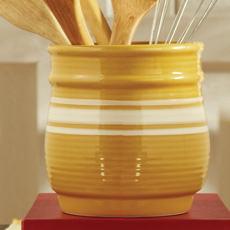 Great Yelloware Crockery Store Your Kitchen Utensils Or Display A Beautiful  Floral Arrangement In This Mustard Stoneware Piece.