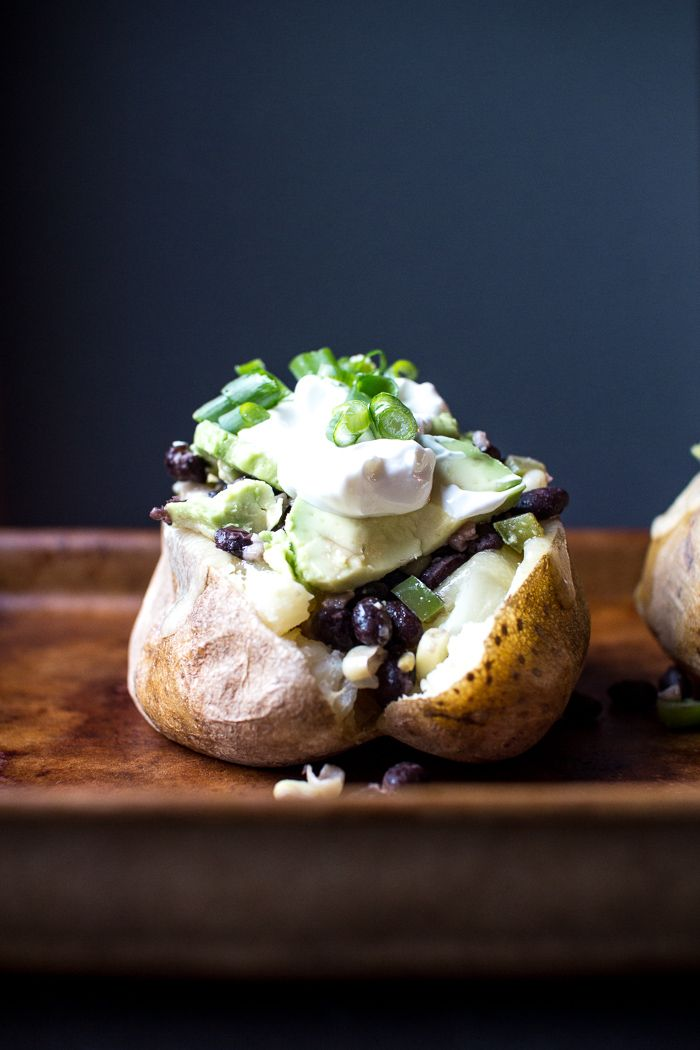 Black Bean and Avocado Loaded Baked Potatoes