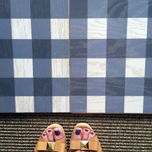 navy gingham hardwood tile floor by Mirth Studio. Mirth Studio's floor tiles are truly innovative.  Using the latest advances in printing and screening, combined with a proprietary sealing process, the engineered hardwood tiles are completely customizable.