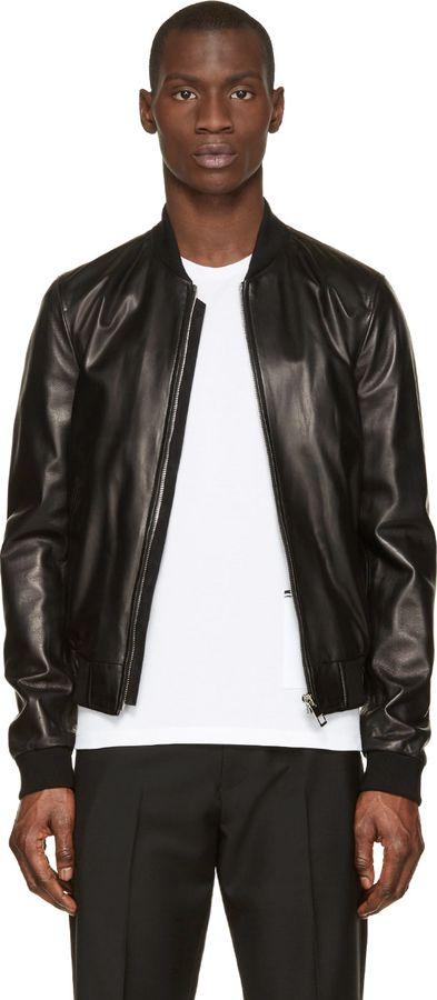 $4,195, Black Leather Bomber Jacket: Dolce