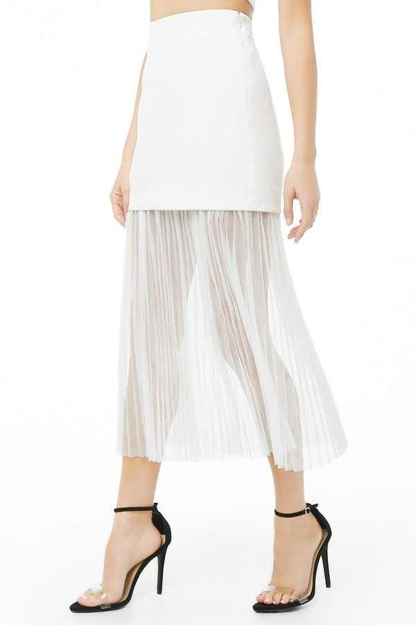 c6c27fb04b Forever 21#Sheer Accordion-Pleated Combo Skirt#affiliatelink ...