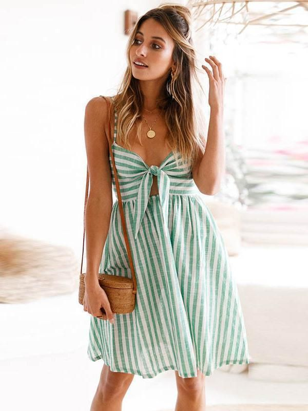 Stylish Vovo Striped Spaghetti-neck Bowknot Mini Dress