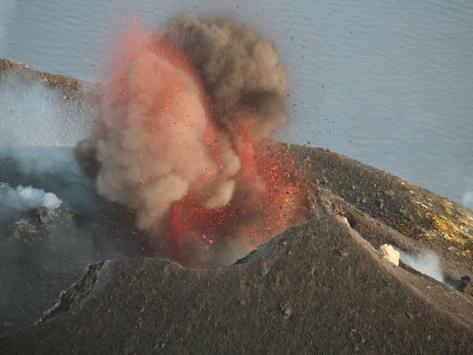 Strombolian Eruption of Stromboli Volcano Producing Ash Cloud, Volcanic Bombs and Lava, Italy