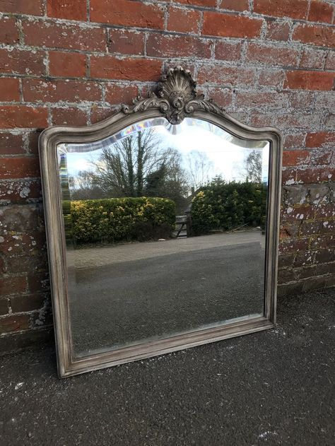 An Exquisite good size Antique 19th Century French carved wood painted shaped top Mirror. (ref. 2541).