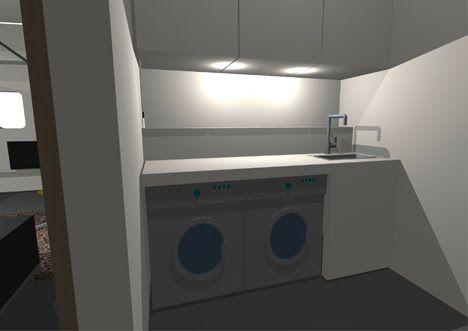 Woonschip gerealiseerd op de Houthavenkade: interieur slaapkamer, logeerkamer en washok
