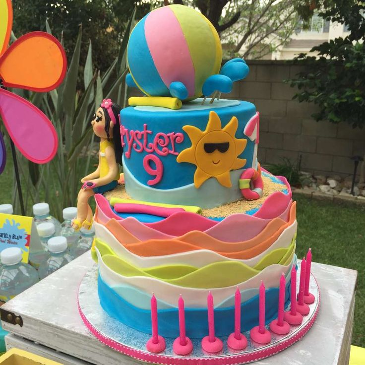 29 best pool party images on pinterest pool party cakes for Decoration ideas 7th birthday party