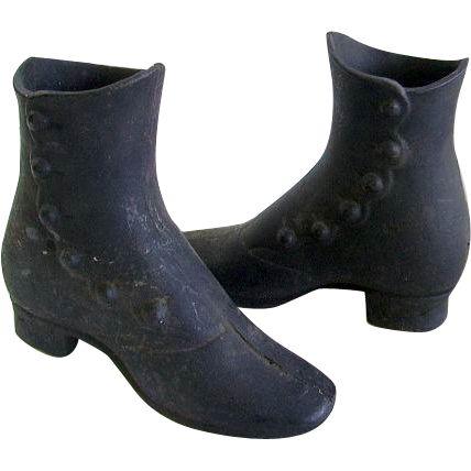 Rare pair of Antique 1800's Child Mannequin cast iron shoes/boots. Victorian Cast Iron High Top Shoes.