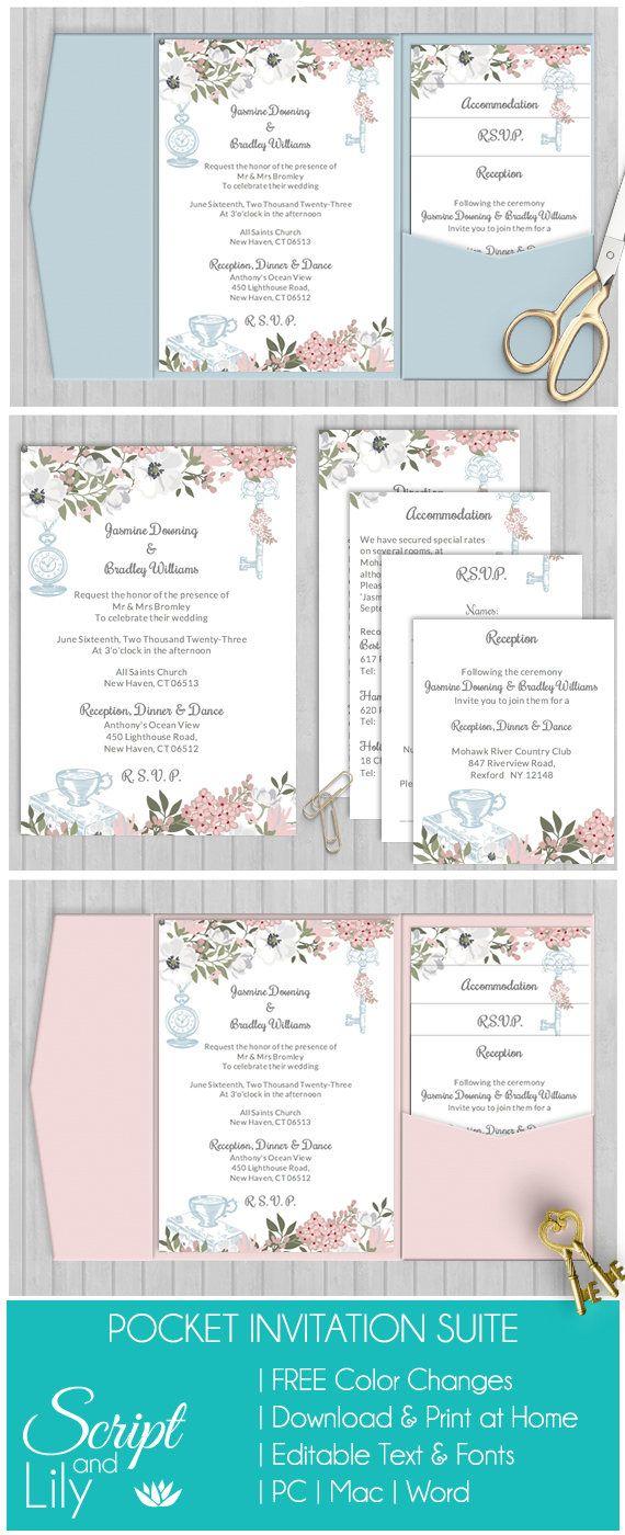 Elegant Alice in Wonderland | Wedding Invitation Template Set ...