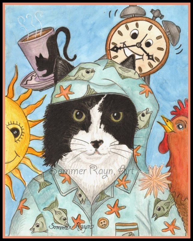 It's time to wake up kitty, coffee, rooster, alarm clock, Cats, A whimsical kitty portrait, card or print - drawing, Item #0406a