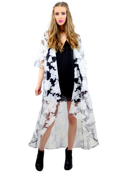SWEET LAZARO FLORAL CAPE STYLE DETAILS:  Lightweight see-through cape Floral print 3/4 length sleeve Ankle length  FIT DETAILS:  Open front Standard Australian sizing  STYLING:  A cape that can enhance your plain old swimsuit or black shirt dress. Adds just the right amount of delicate boho inspiration