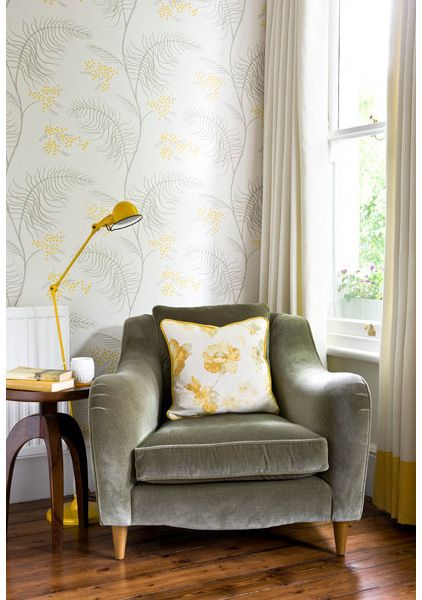 velvet overstuffed chair and cute table plus lamp and wall paper by rebecca hayes interiors overstuffed