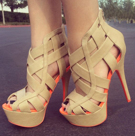Oh how I love that pop of neon! Never Cage Me Platform Heels