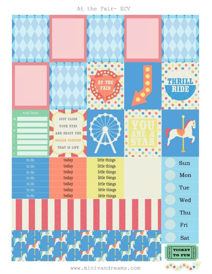 Free Printable Planner Stickers: At the Fair