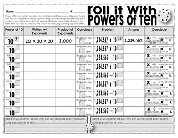 """Roll It! With Powers of 10 is a fun dice game used to solidify students understanding of how to multiply and divide decimals by a power of ten. I love this worksheet, and so do my students. It's funny how adding a dice to an activity increases the """"FUN"""" level."""