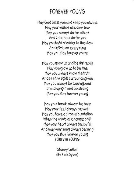 Forever Young lyrics | Its only Words | Pinterest