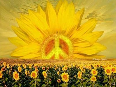☮ American Hippie Art ☮ Peace Sign and Sunflowers