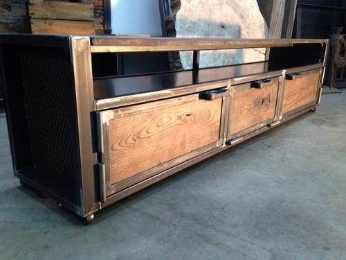 Mueble de tv r stico madera y hierro muebles de tv for Muebles para garage