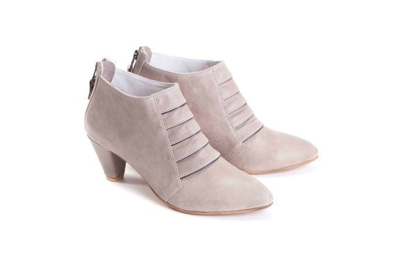 SALE 30% Discount Womens Mid-Heel Light Grey by OliveThomasShoes