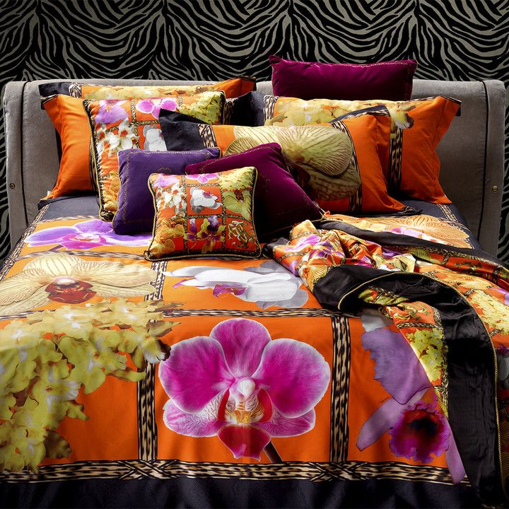 This bedroom evokes glamour and the feeling of tropical places, a very vibrant looking room.   At the center of it is a Roberto Cavalli - Foulard Duvet Set 001 - which has an orange background and vivid beautiful floral designs that make me think of faraway places.    Imagine the gorgeous dreams you could have in this room. (scheduled via http://www.tailwindapp.com?utm_source=pinterest&utm_medium=twpin&utm_content=post666385&utm_campaign=scheduler_attribution)