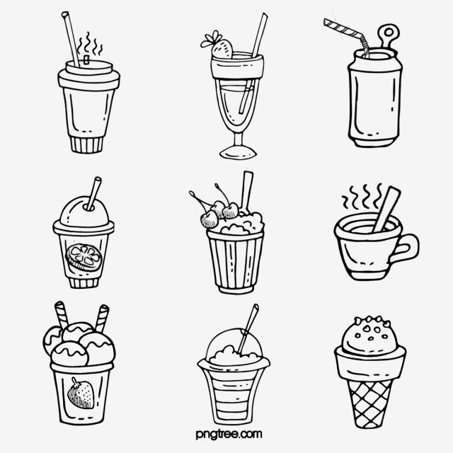 Black And White Line Drawing Drinks Hand Drawing Label Elements Ice Block Ice Cream Straw Png Transparent Clipart Image And Psd File For Free Download Black And White Lines Black And