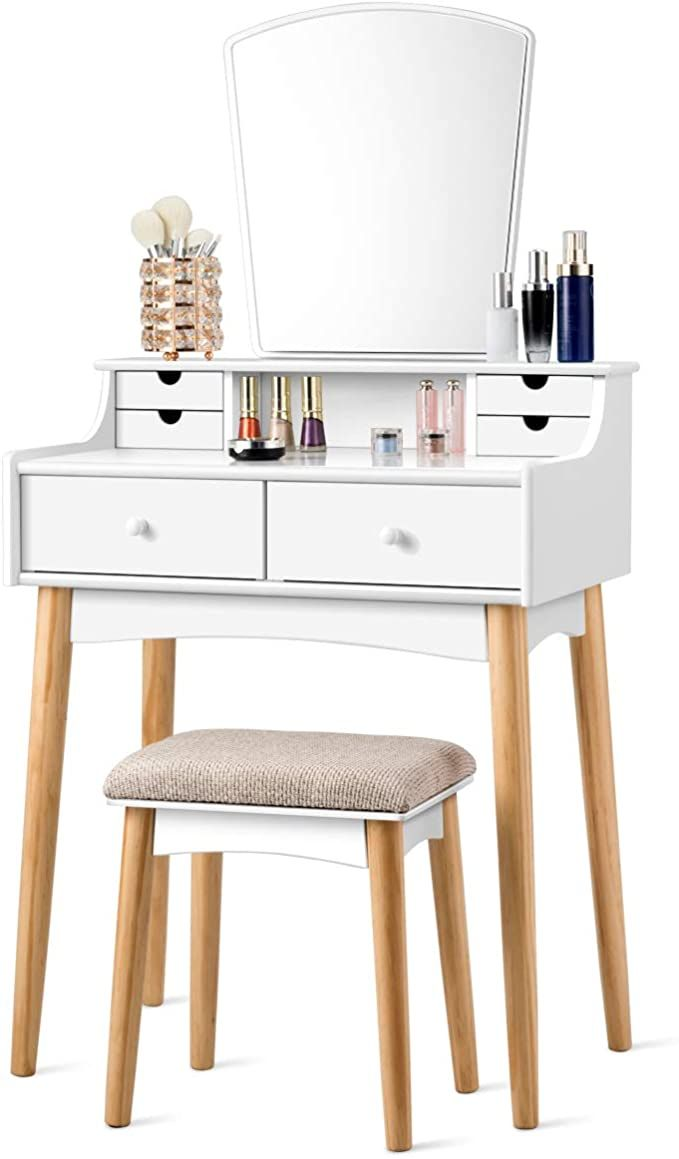Charmaid Makeup Vanity Set With 6 Drawers Dressing Table With Cushioned Stool And Unique Shape Mirro Wooden Vanity Vanity Table Set Mirrored Bedroom Furniture [ 1159 x 679 Pixel ]