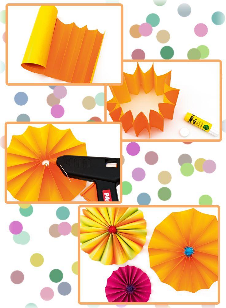 Schmücken Sie Ihren Partyraum mit dieser kreativen Faschingsdeko! Sie benötigen nur buntes Bastelpapier, Schere, Kleber, eine Heißklebepistole, Pompons und schon kann's losgehen.
