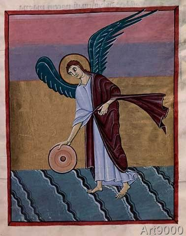 ottonisch Buchmalerei - Angel with millstone/ Bamberg Apocalypse