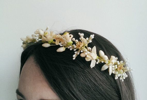 Victorian wax flower orange blossom crown wedding tiara in blush, ivory and light green
